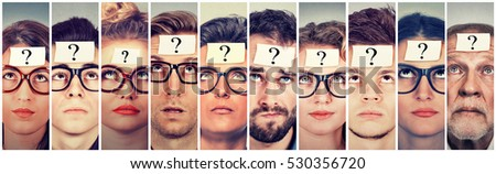 Multiethnic group of thinking people with question mark looking up