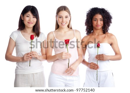 Multiethnic group of young woman holding red rose isolated on white background. - stock photo
