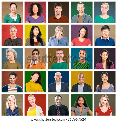 Multiethnic People Colorful Smiling Portrait Concept