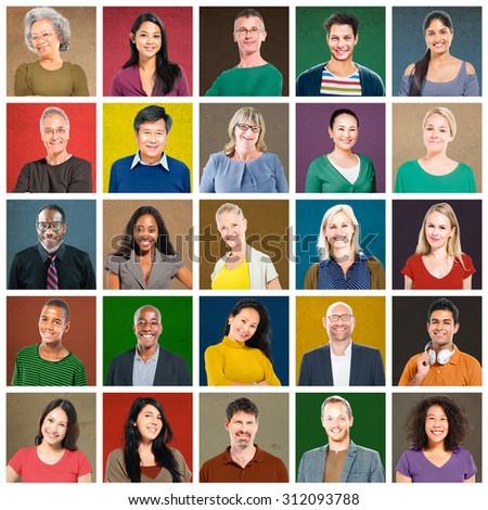Multiethnic People Colorful Smiling Portrait Concept - stock photo