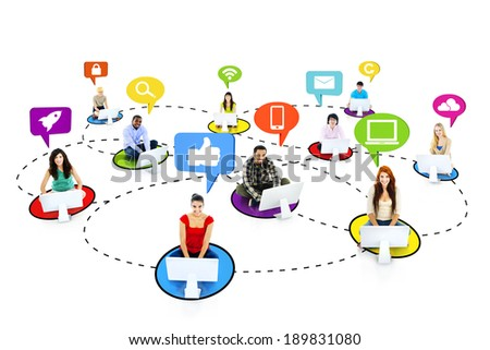 Multiethnic People Connecting with Social Media Symbols - stock photo