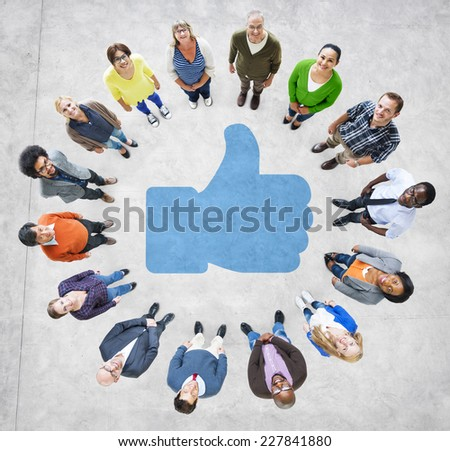 Multiethnic People Forming Circle and Social Network Concept - stock photo