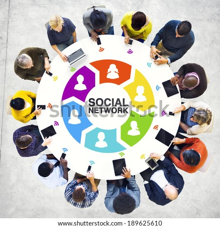 Multiethnic People Social Networking with Digital Devices - stock photo