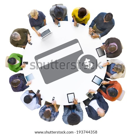 Multiethnic People Using Digital Devices with Credit Card Symbol - stock photo