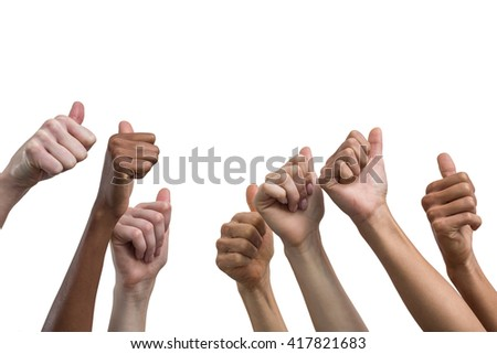 Multiethnic women showing their thumbs up on white background