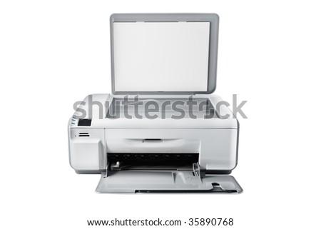 Multifunction printer isolated on white - stock photo