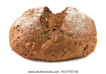 Multigrain bread from wheat flour on a white background. - stock photo