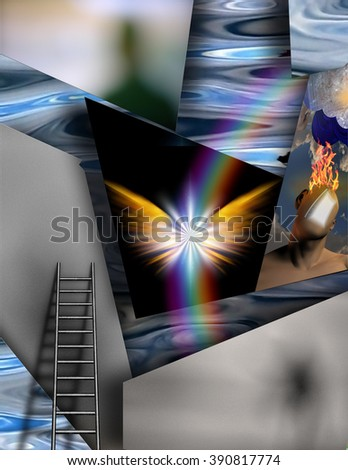 Multilevel Abstract with winged being - stock photo