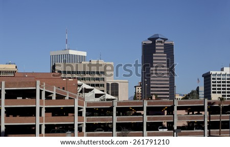 Multileveled car parking structure in crowded downtown of Tucson, Arizona - stock photo