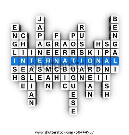 multilingual concept  (blue-white cubes crossword series) - stock photo