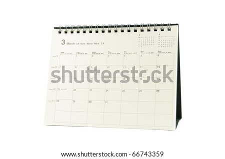 Multilingual desktop calendar March 2011 in isolated white background - stock photo