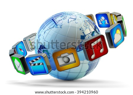Multimedia applications online store, software market concept, smartphone or mobile phone app icons around Earth globe isolated on white (Elements of this image furnished by NASA, my own icons) - stock photo