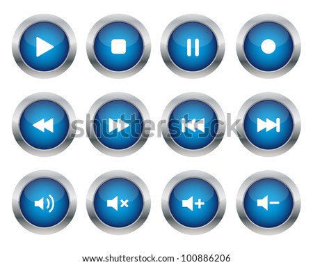 Multimedia buttons. Vector available.