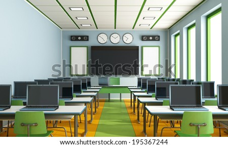Multimedia classroom with computers, screen and speakers - stock photo
