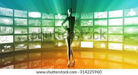 Multimedia Entertainment with Futuristic Video Gallery Art - stock photo
