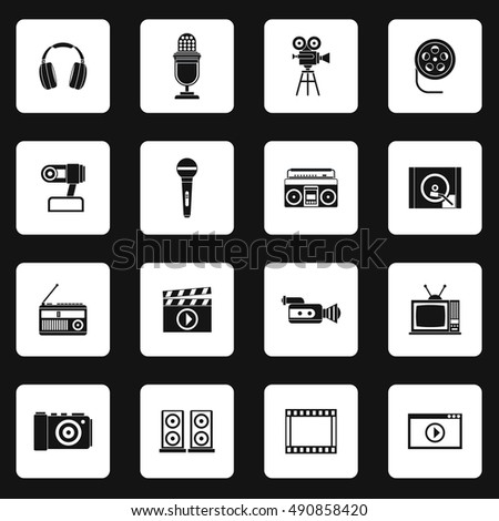 Multimedia equipment icons set in simple style. Electronics set collection  illustration