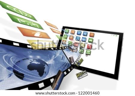 Multimedia flow illustration isolated on white - stock photo