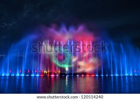 Multimedia fountain show in Wroclaw - stock photo