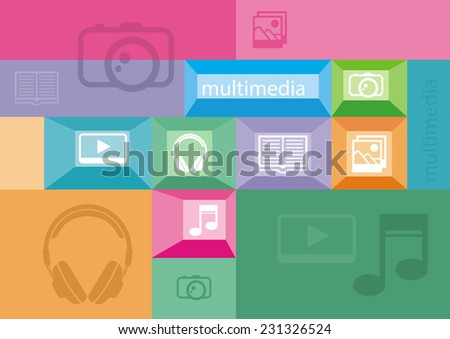 Multimedia icons of user interface elements on colored background. Raster version - stock photo