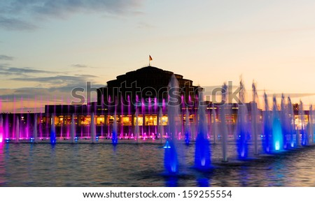 Multimedia laser colorful musical show in Wroclaw fountain