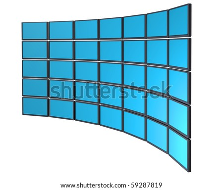 Multimedia monitor display wall concept
