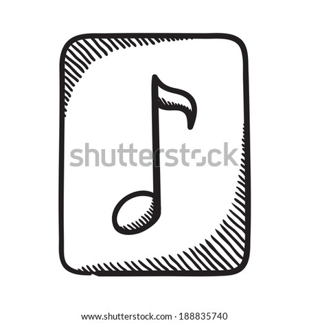 Multimedia music audio note symbol. Isolated sketch icon pictogram.