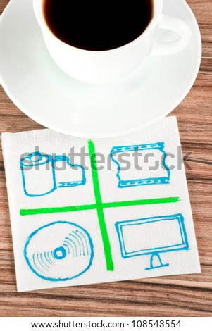 Multimedia signs on a napkin and cup of coffee - stock photo