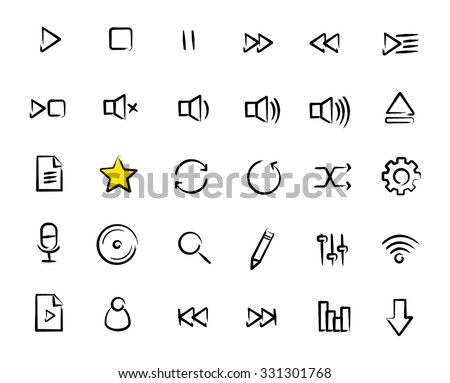 Multimedia sketch icons set. Doodle hand drawn audio player interface buttons. Sound control grunge pictograms. Black pen ink raster symbols isolated on white - stock photo