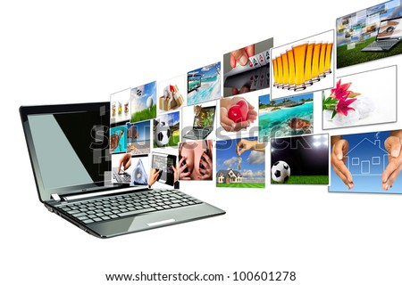 Multimedia streaming from the laptop screen. All images coming from my gallery. - stock photo