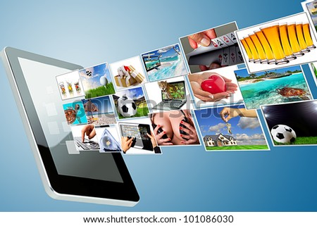 Multimedia streaming of the tablet screen. All images coming from my gallery. - stock photo