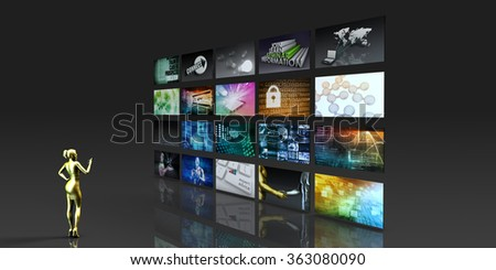 Multimedia Technology with Woman Staring at Screens