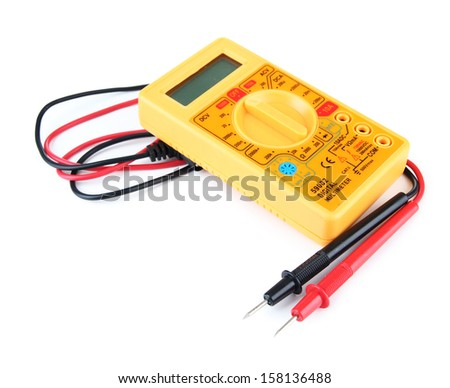 Multimeter isolated on white - stock photo