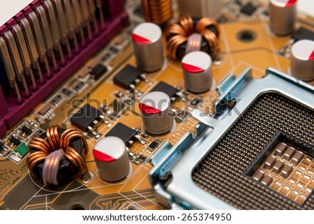 Multiphase power system modern processor on the motherboard - stock photo