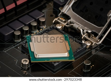 Multiphase power system modern processor with heatsink and the CPU socket.