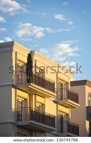 Multiple balcony�s with metal railing. - stock photo