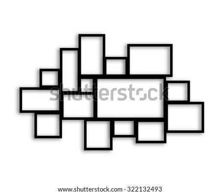 Multiple black frames on white background