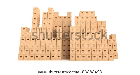 multiple cardboard boxes - stock photo