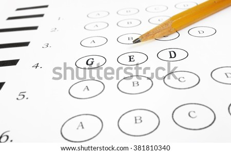 Multiple choice GED Test text, with pencil                                - stock photo