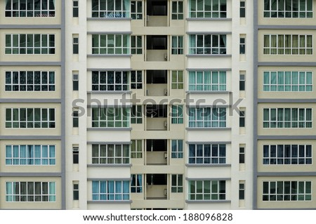Multiple closed windows on an apartment  - stock photo