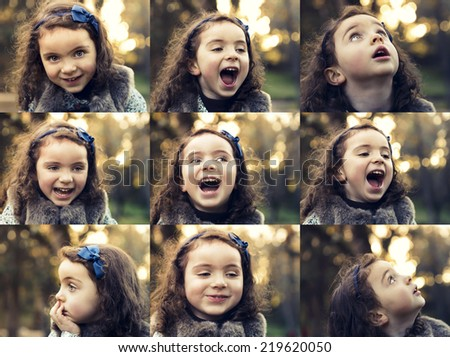Multiple collage with portraits of a same little girl on outdoor - stock photo