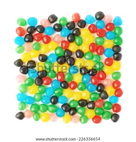 Multiple colorful candy ball sweets forming a square shape, composition isolated over the white background - stock photo