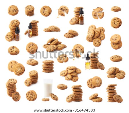 Multiple cookie compositions isolated over the white background