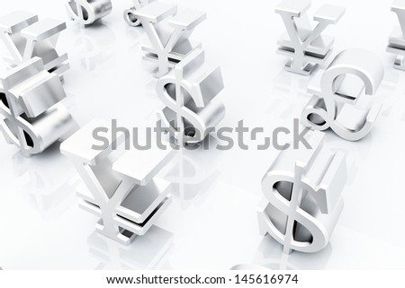 multiple currency symbols - stock photo
