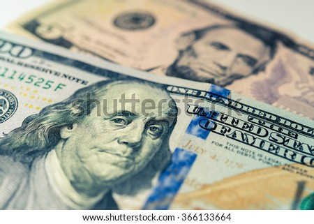 Multiple dollars bills. Close-up on dollars bills. - stock photo