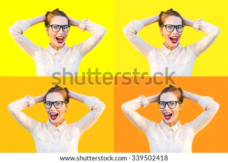 Multiple emotional photo set of colorful summer autumn outdoor funny pretty girl with fun sunglasses red lips and comic stress excited surprised scream smile laugh tongue out yellow isolate background - stock photo