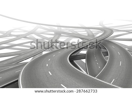 multiple empty roads symbolizing choice