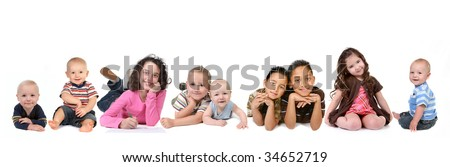 Multiple Ethnicities of Children of all Ages on White Background - stock photo