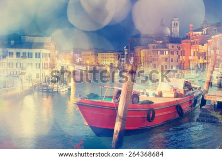 Multiple exposure image of Venice, Italy. Dreamy effect was applied. - stock photo