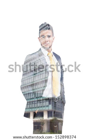 Multiple exposure of a businessman and a business building - stock photo