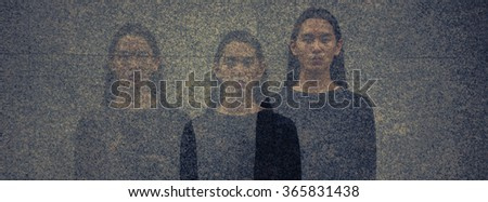 Multiple exposure of Asian man